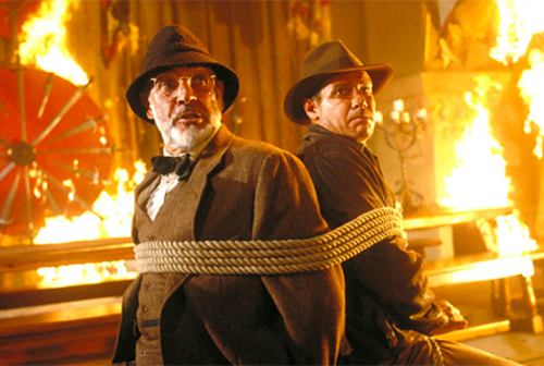 indiana jones and dad tied up